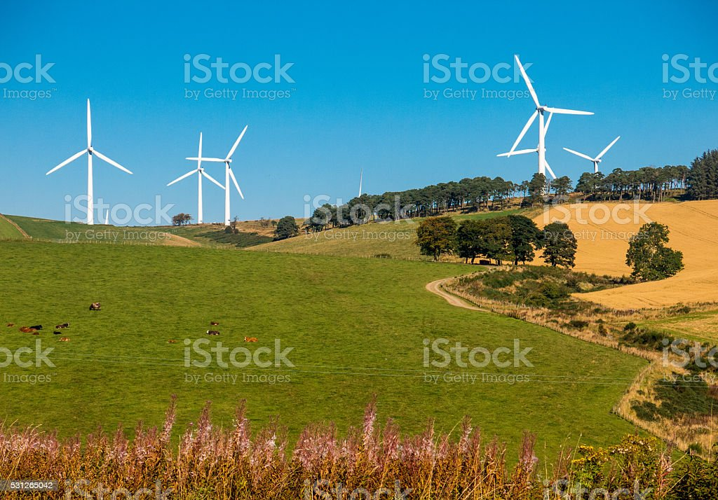 Wind Turbines Above Fields, Huntly, Aberdeenshire, UK stock photo