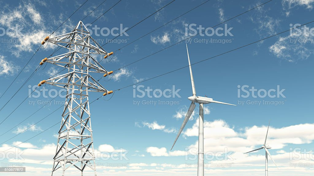 Wind turbines and overhead power line stock photo