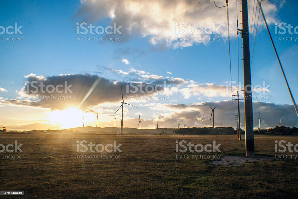 wind turbines and power lines in a field stock photo