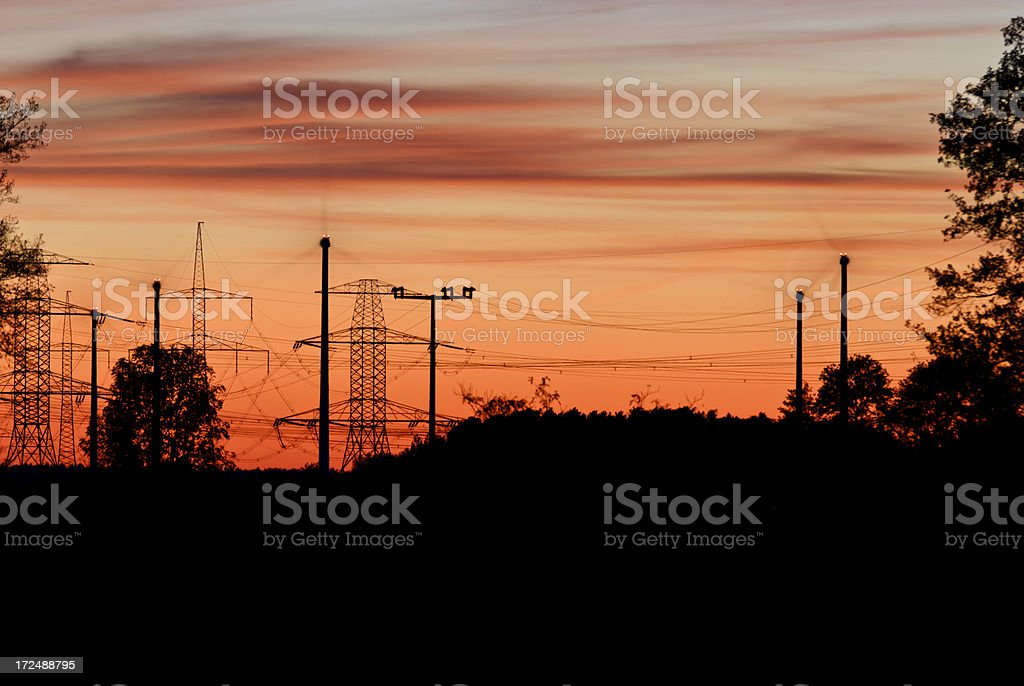 Wind turbines and power lines royalty-free stock photo