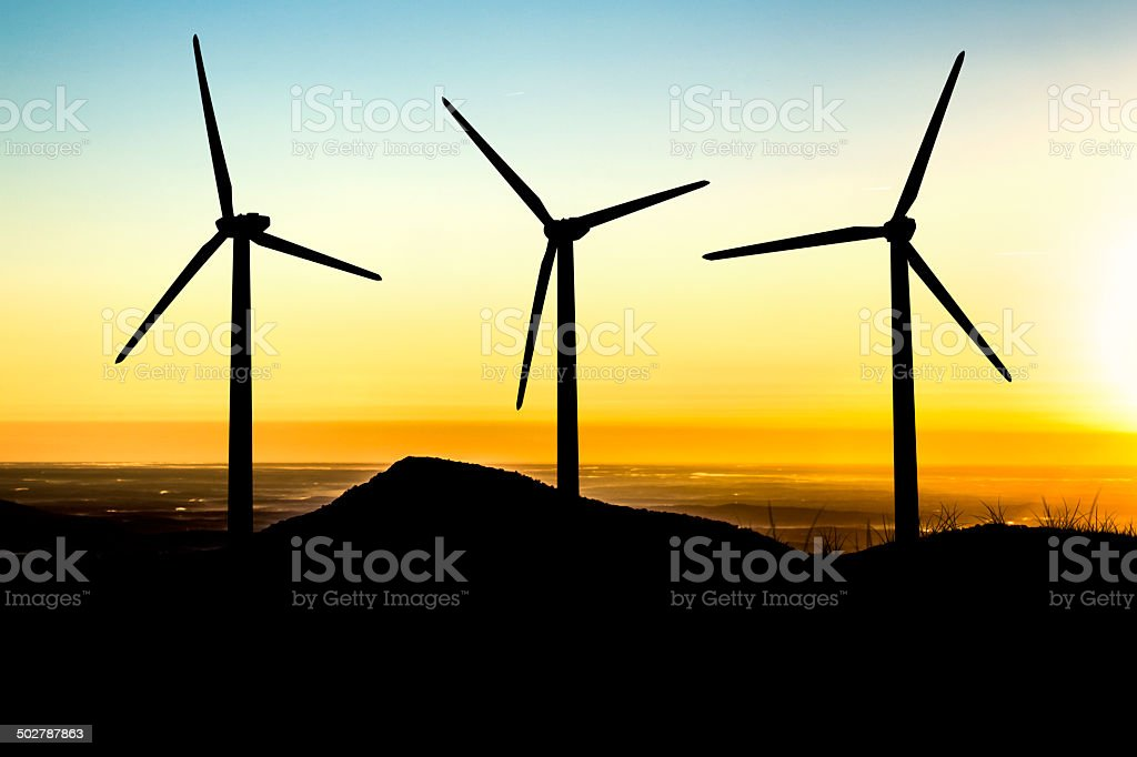 Wind Turbines At Dawn stock photo