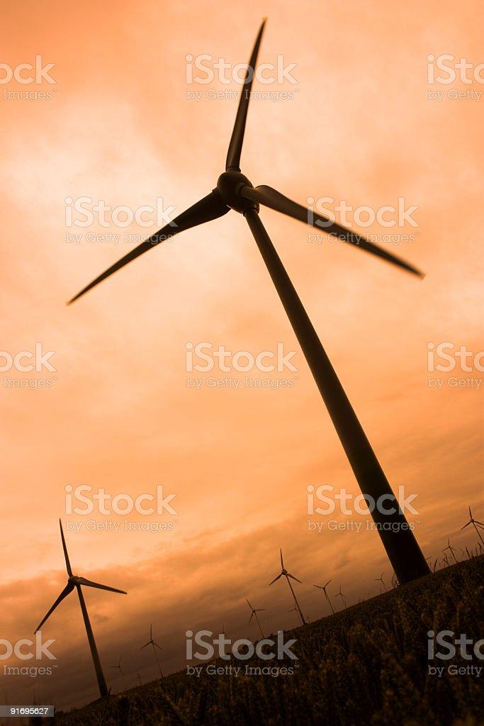 wind turbines at dusk stock photo