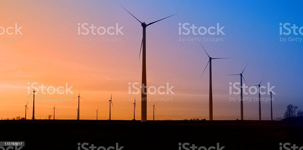 Wind Turbines at Sunset stock photo