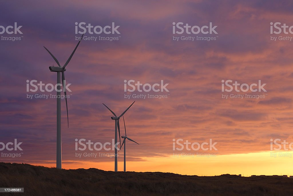 Wind turbines at sunstet royalty-free stock photo