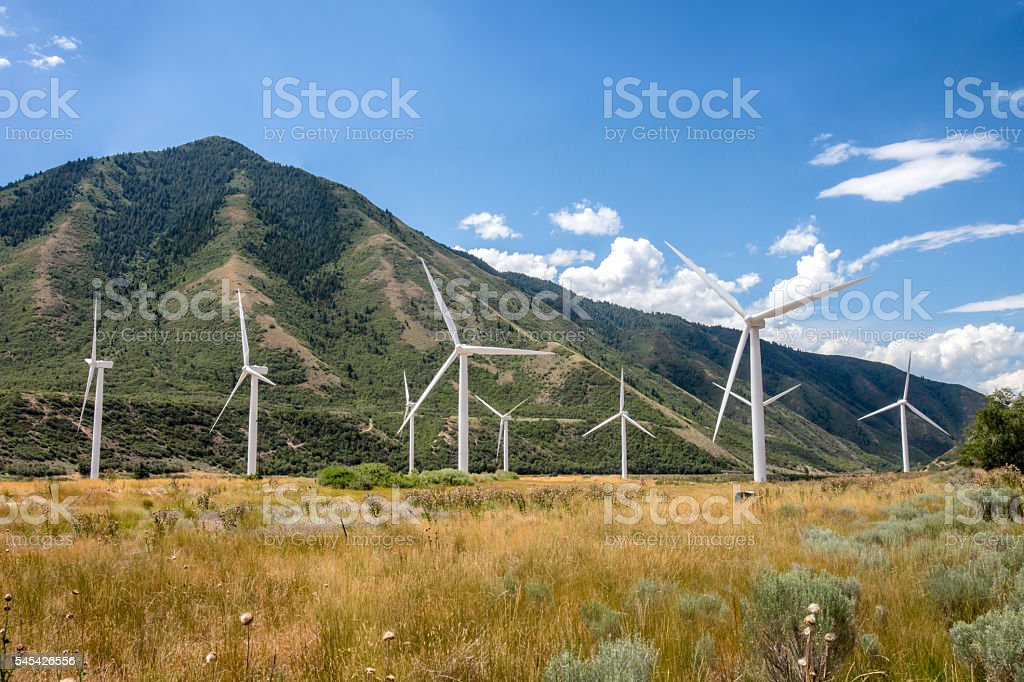 Wind Turbines At The Base Of A Foothill stock photo