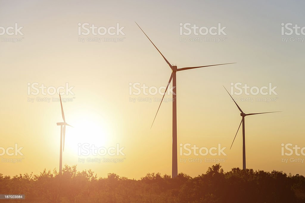 wind turbines at twilight royalty-free stock photo