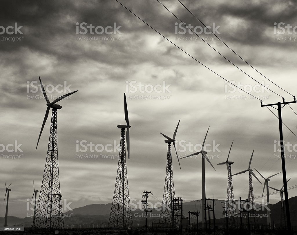 Wind Turbines, clean energy production near Palm Springs, California, USA royalty-free stock photo