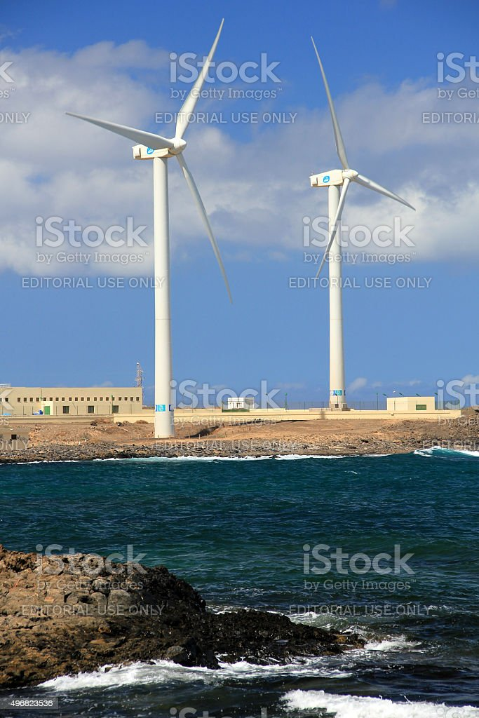 Wind turbines, Corralejo, Fuerteventura, Spain stock photo