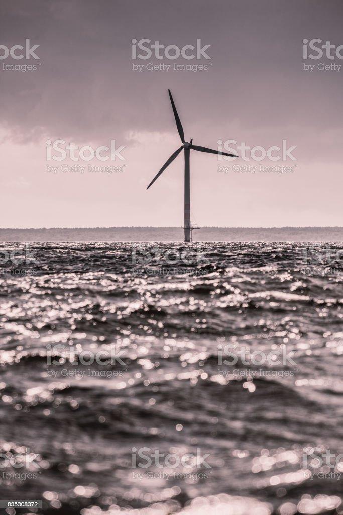 Wind turbines farm in Baltic Sea, Denmark stock photo