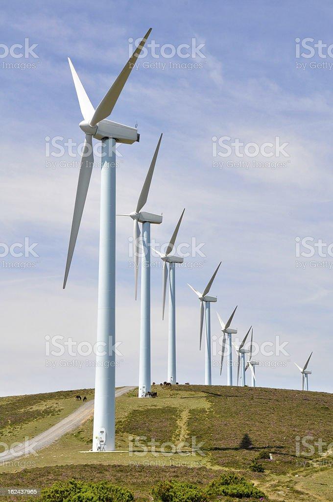Wind turbines farm in winter, Elgea range (Basque Country) stock photo