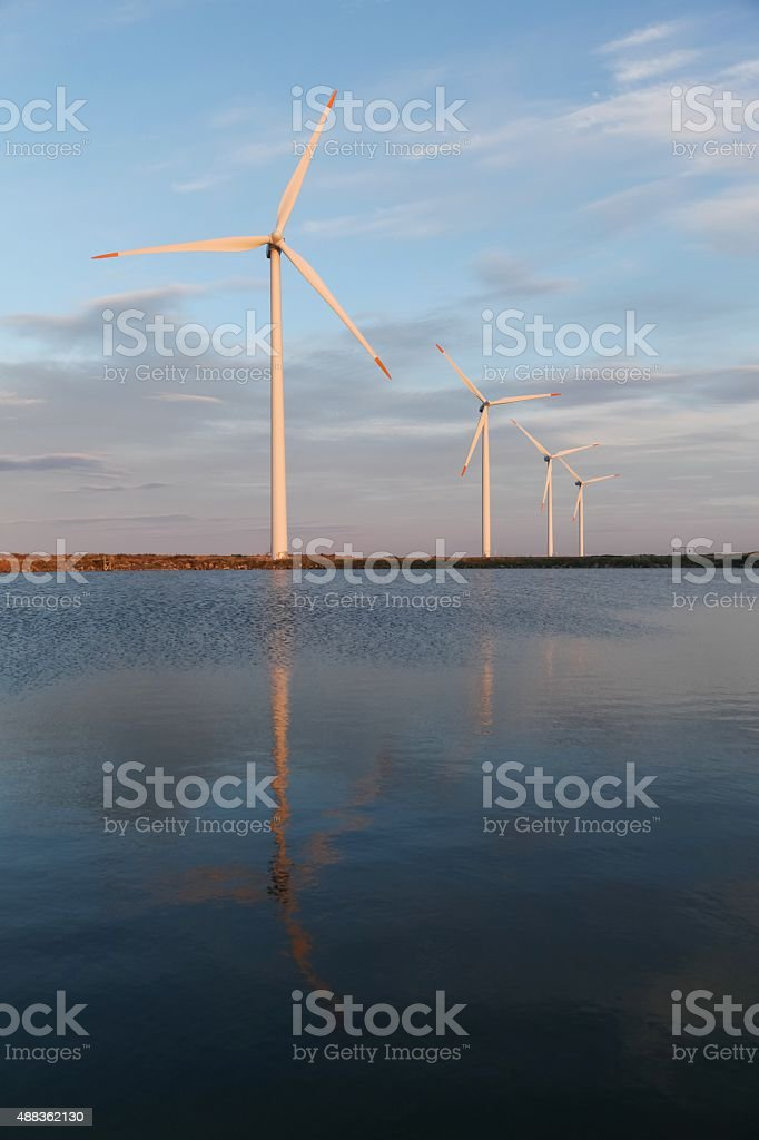 Wind turbines for electric power production in Denmark stock photo