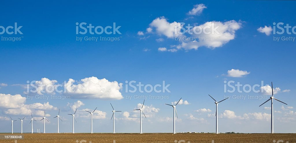 wind turbines in a row on the West Texas plains stock photo
