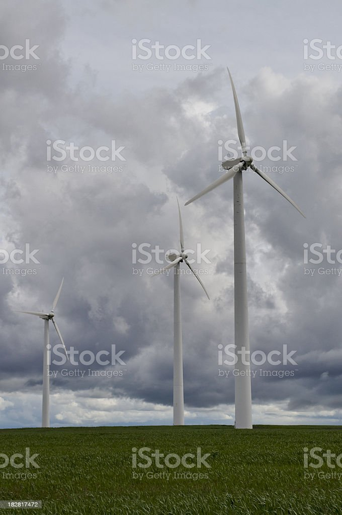 Wind turbines in a storm royalty-free stock photo