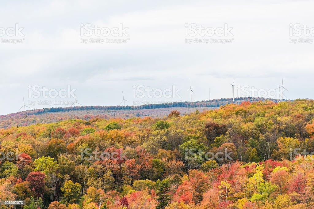 Wind turbines in autumn on mountain in West Virginia stock photo