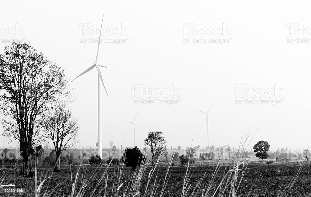 Wind turbines in black and white stock photo