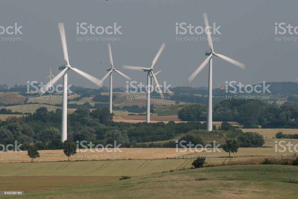 Wind turbines in Denmark stock photo
