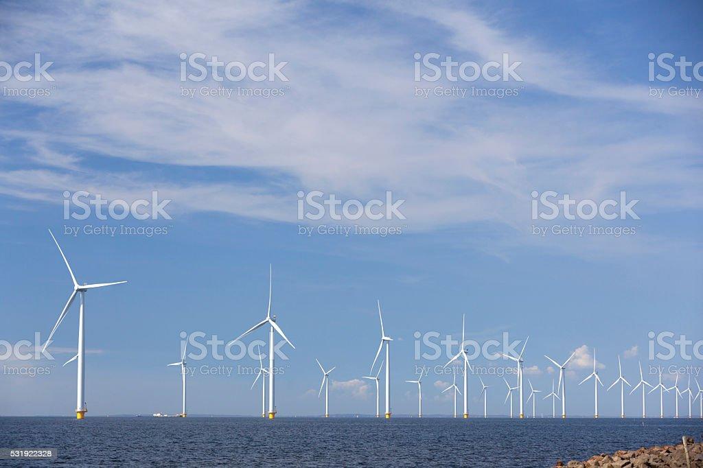 wind turbines in ijsselmeer off the coast of flevoland holland stock photo