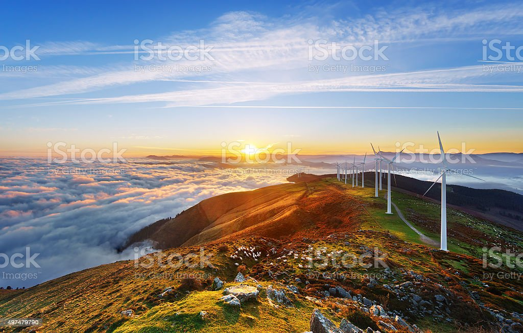 wind turbines in Oiz eolic park stock photo