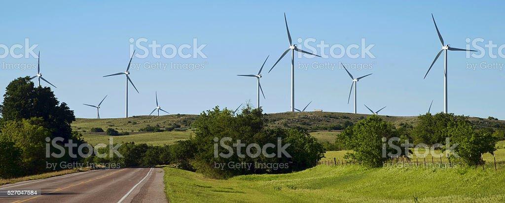 Wind Turbines in Oklahoma. stock photo