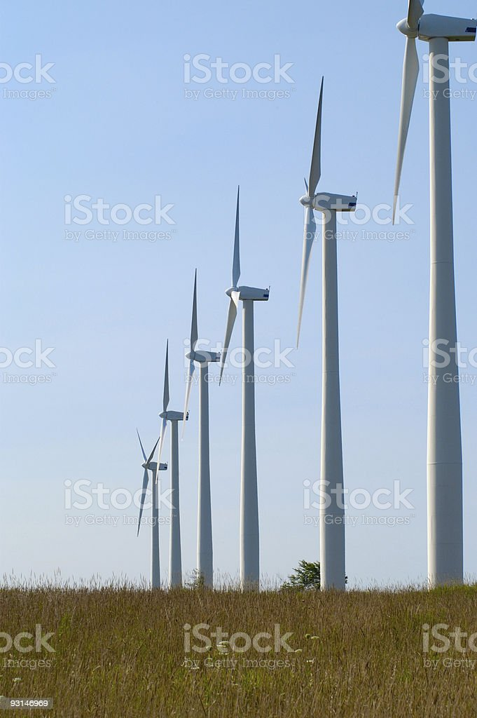 Wind Turbines in Row royalty-free stock photo