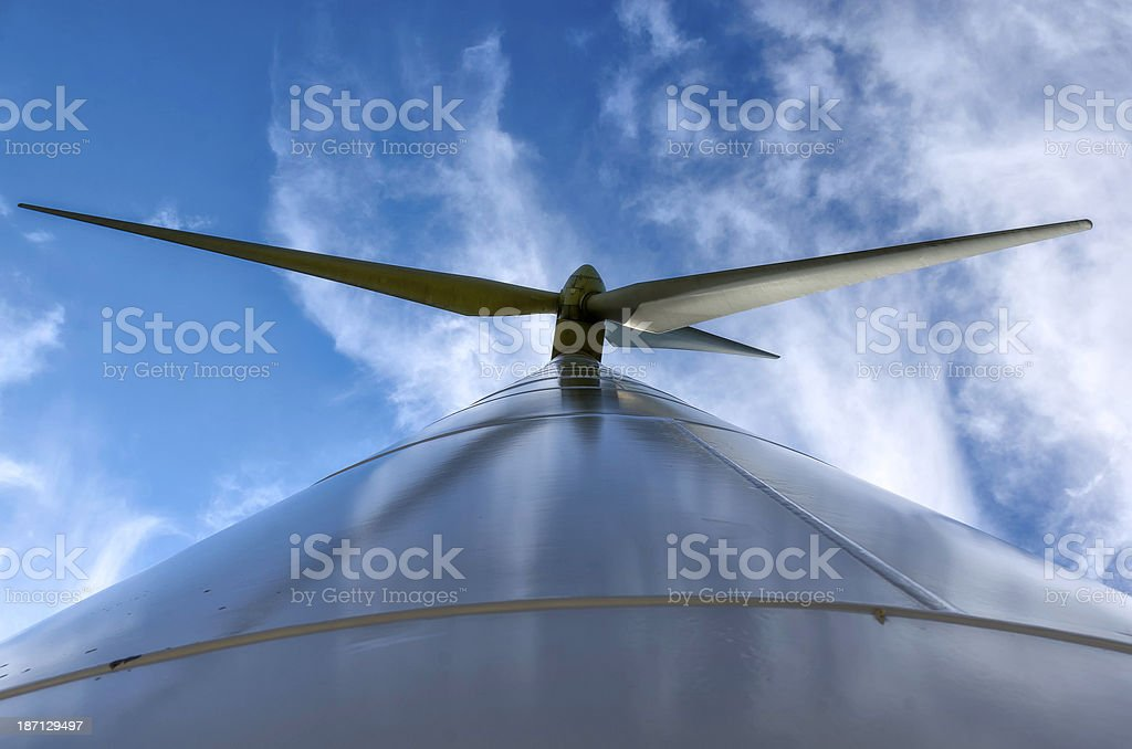 Wind Turbines in the blue sky stock photo