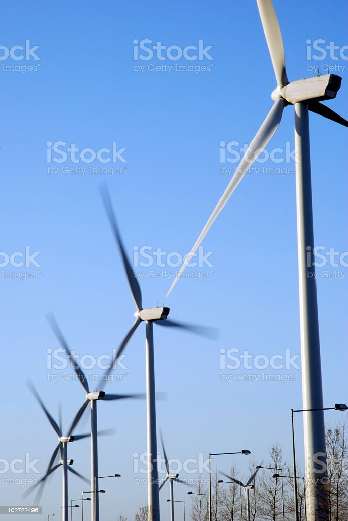 Wind turbines in the city royalty-free stock photo