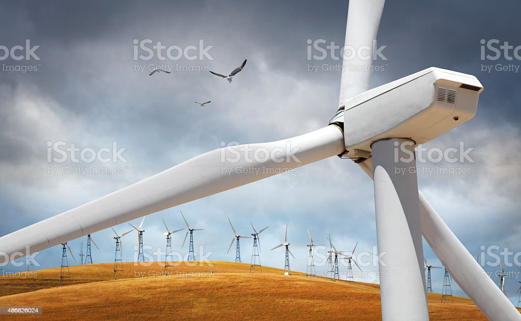 Wind turbines in the landscape stock photo