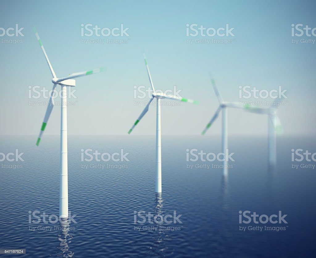 Wind turbines in the ocean. 3d illustration high resolution stock photo