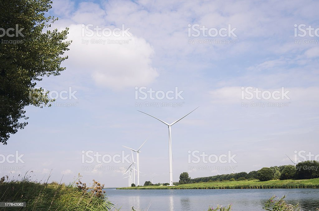 Wind turbines in Zeeland, the Netherlands royalty-free stock photo