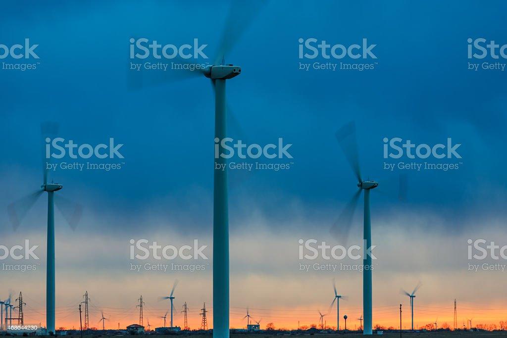 Wind turbines, Kaliakra stock photo