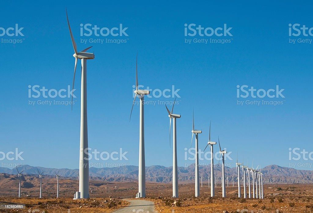 Wind turbines near Palm Springs, CA stock photo