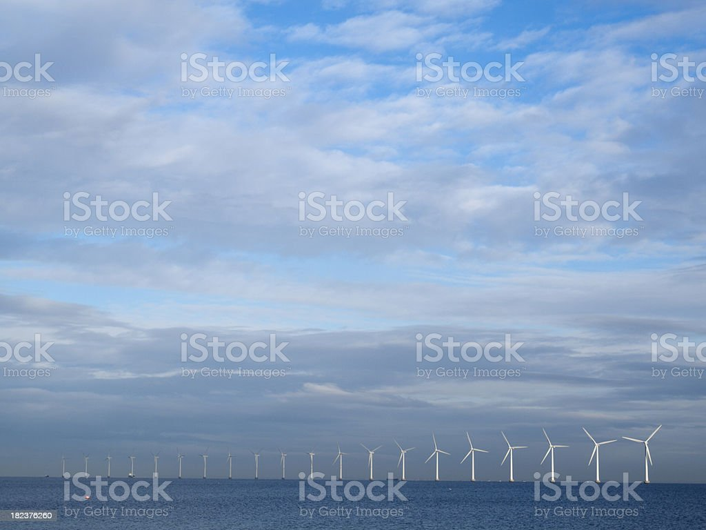 Wind turbines off the shore of Copenhagen royalty-free stock photo