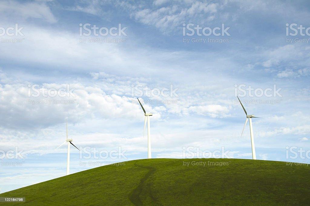 Wind Turbines on a Hill stock photo