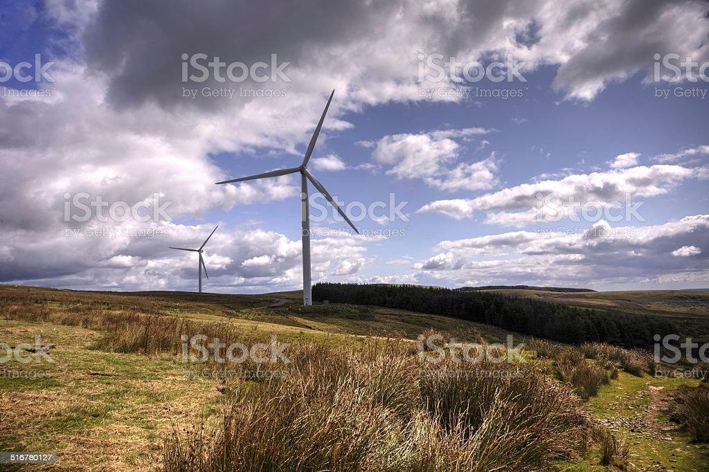 wind turbines on a Welsh hillside stock photo