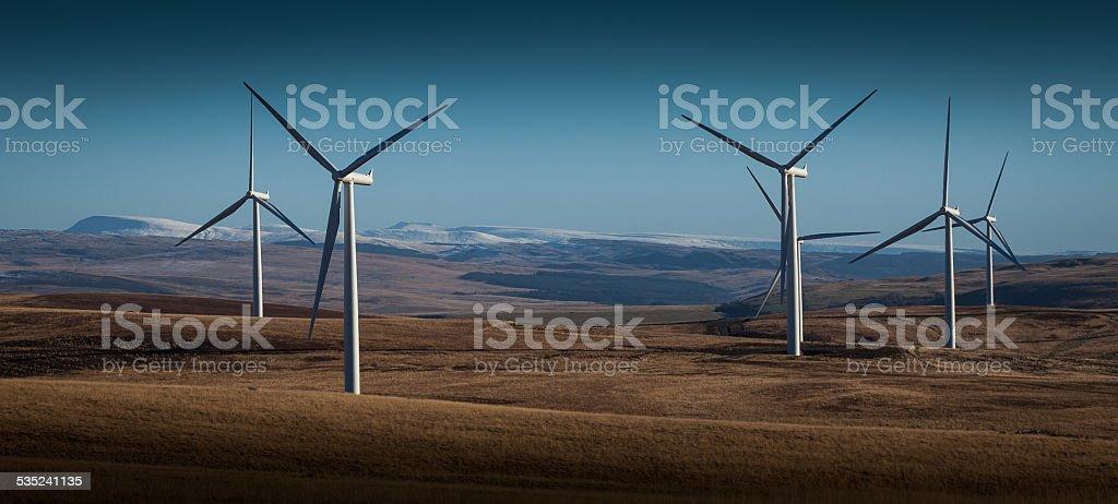 Wind turbines on Betws mountain stock photo