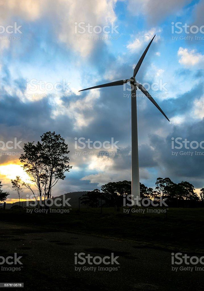Wind turbines on dusk stock photo