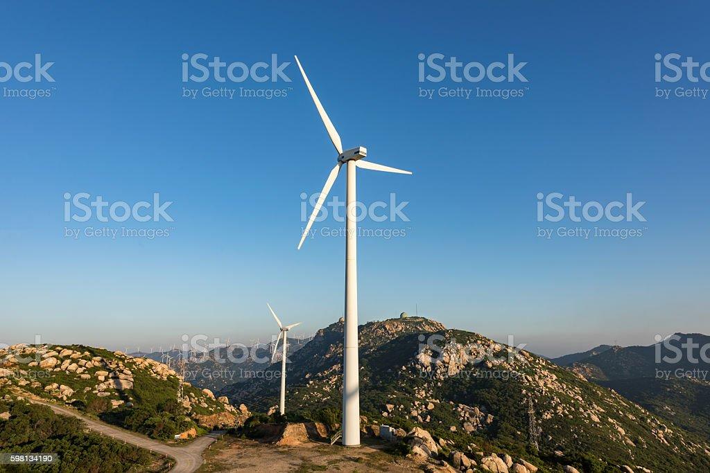 Wind turbines on the coast stock photo