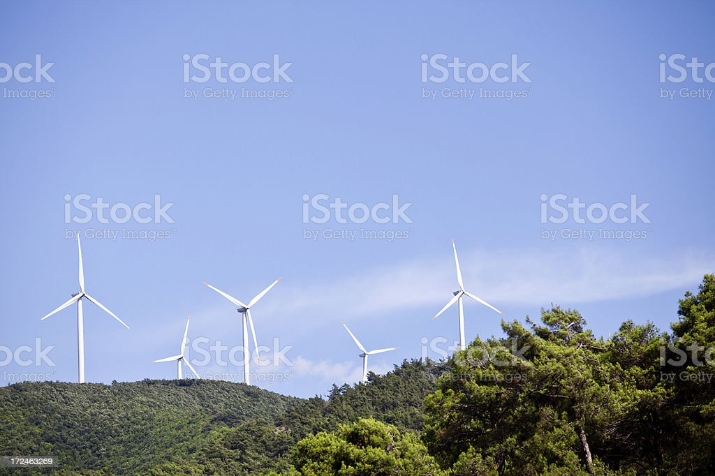 Wind Turbines on the top of hill royalty-free stock photo