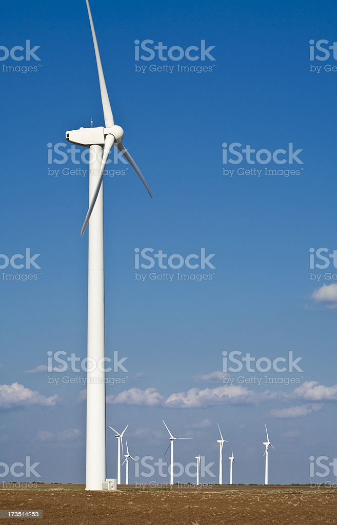 wind turbines on the West Texas plains royalty-free stock photo
