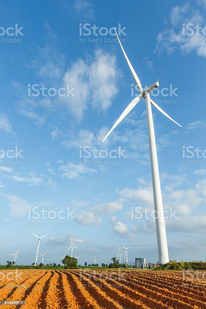Wind turbines stock photo