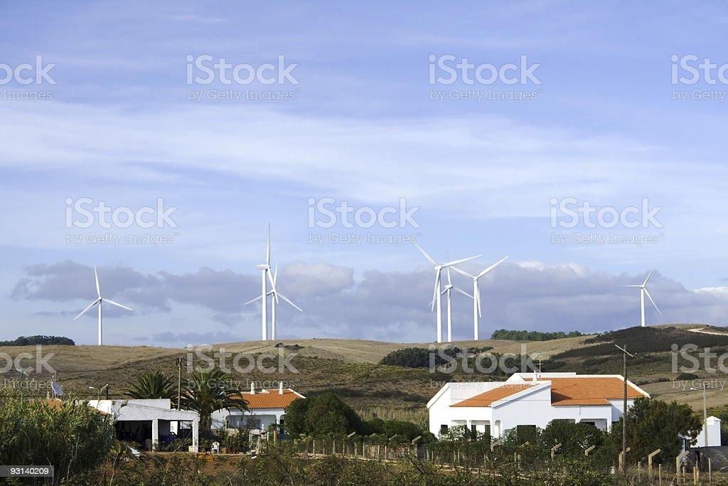 WInd turbines Portugal stock photo