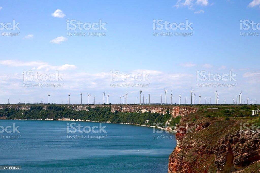 Wind turbines produce energy. Kaliakra, Bulgaria, Europe. stock photo