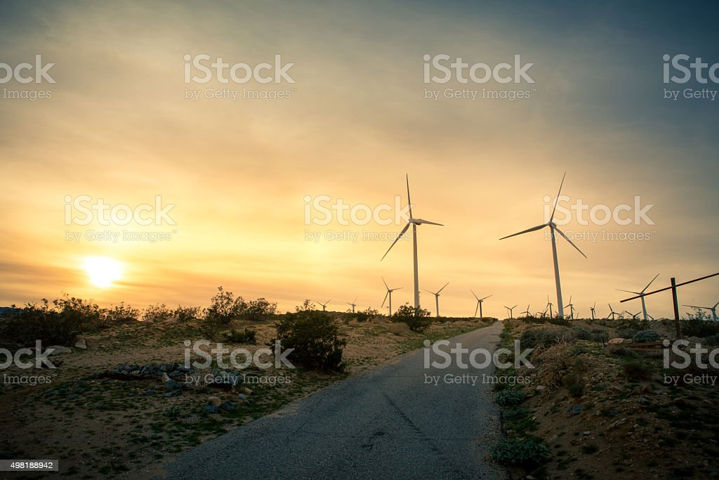 Wind Turbines, San Gorgonio Pass Wind Farm At Sunset royalty-free stock photo