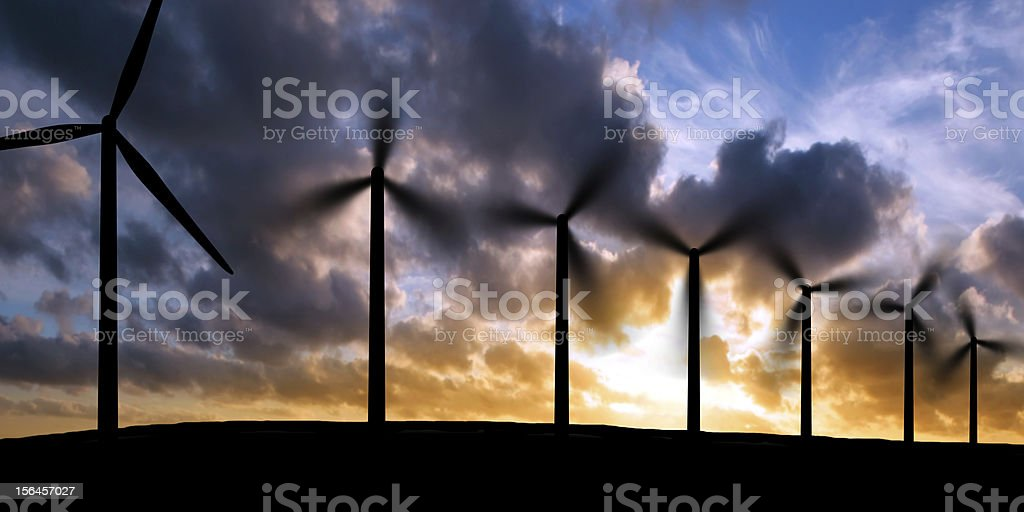 XXXL wind turbines silhouette royalty-free stock photo
