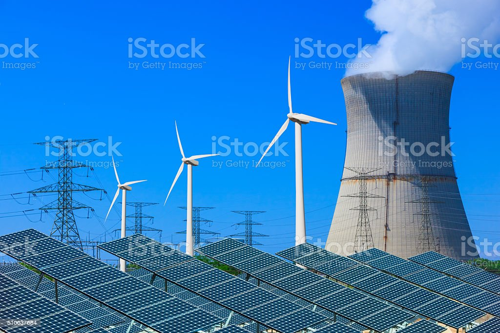 wind turbines; solar panels; stock photo