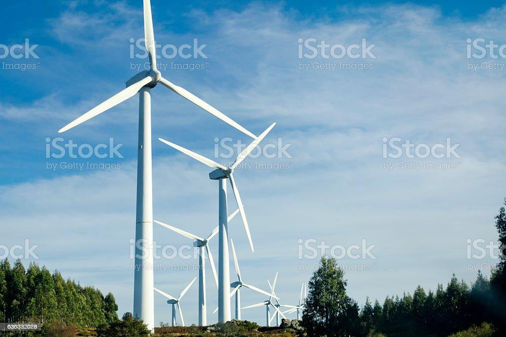 Wind turbines, sustainable energy. stock photo