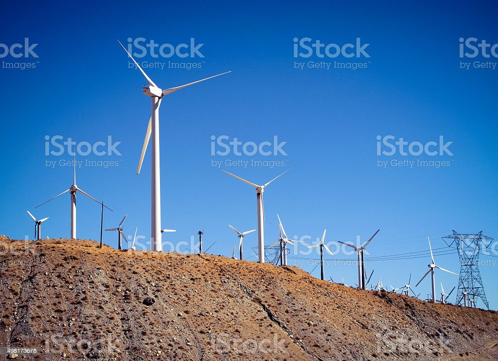 Wind Turbines & Transmission Lines, San Gorgonio Pass Wind Farm royalty-free stock photo