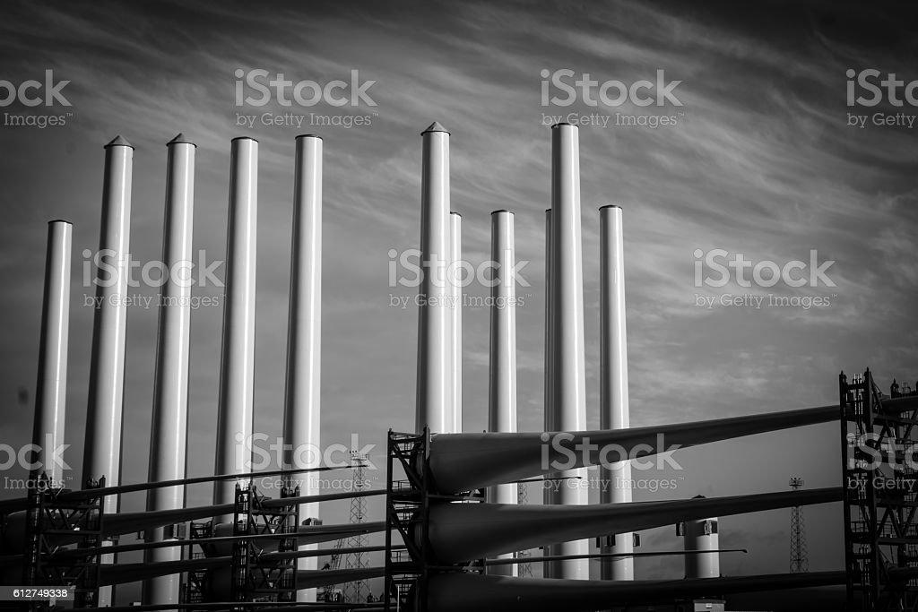 Wind turbines under construction stock photo