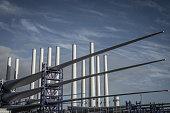 Wind turbines under construction