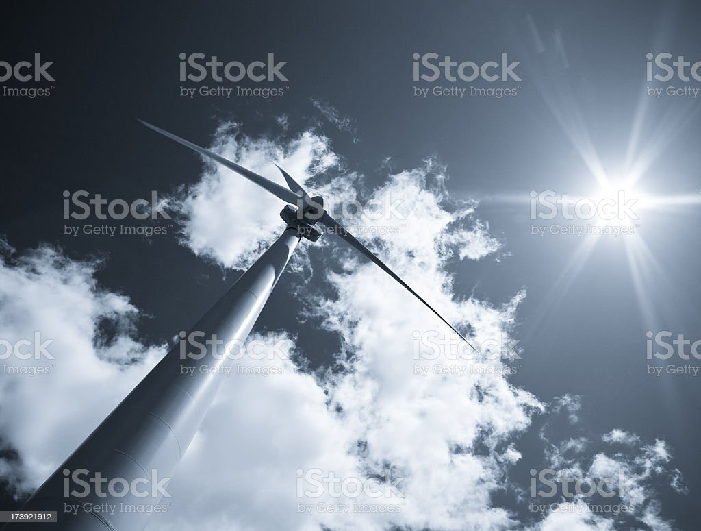 Wind turbines under the sun royalty-free stock photo